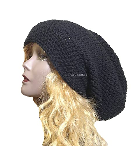 7fdc06ea1 Amazon.com: Oversized Black Slouchy Beanie for Extra Large Hat Size ...