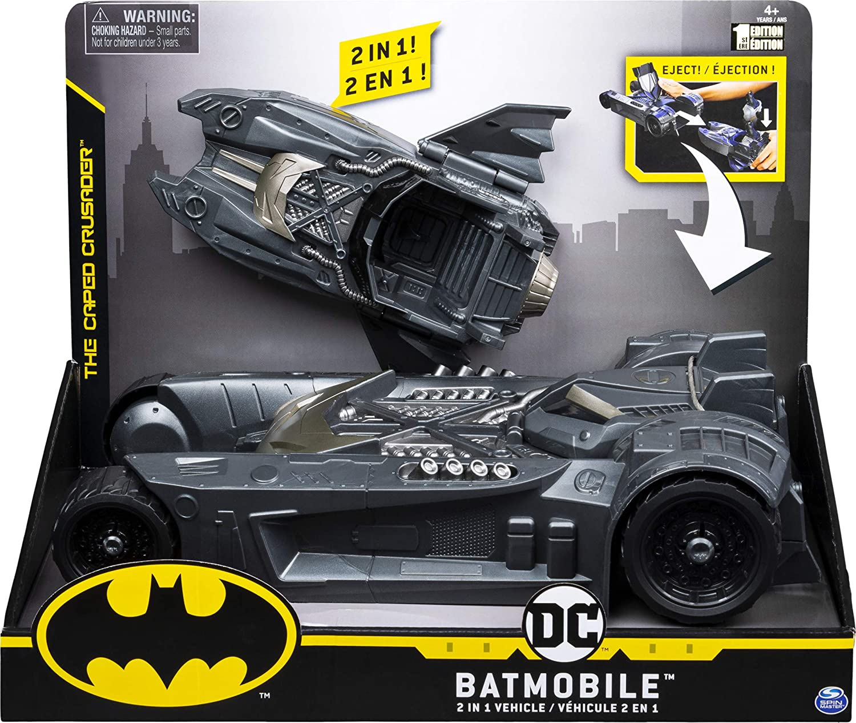 Batman 6055952 Batmobile and Batboat vehículo Transformador 2 en 1, para Uso de Figuras de acción de 4 Pulgadas, Gris