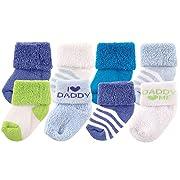 Luvable Friends Unisex 8 Pack Newborn Socks, Blue/Daddy, 0-6 Months