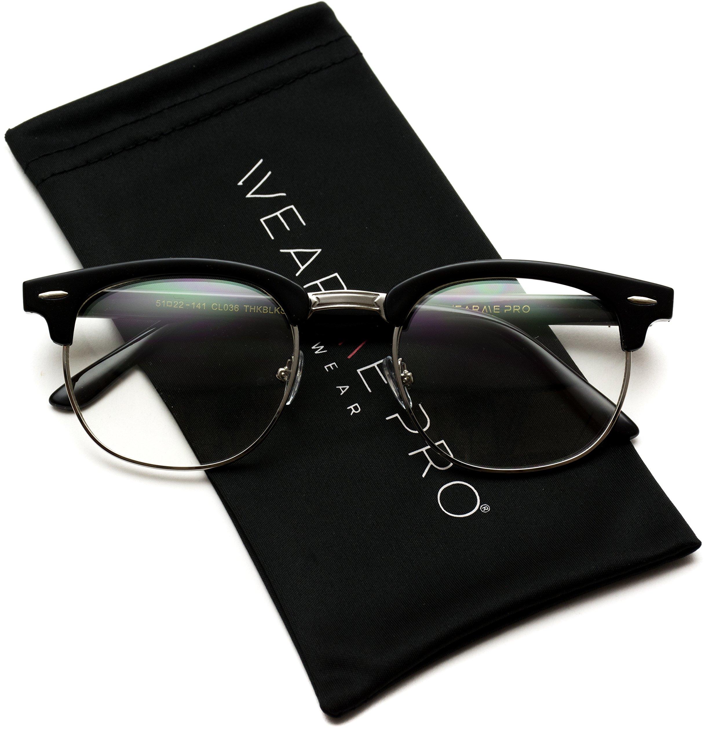 Vintage Inspired Classic Half Frame Horn Rimmed Clear Lens Glasses by WearMe Pro