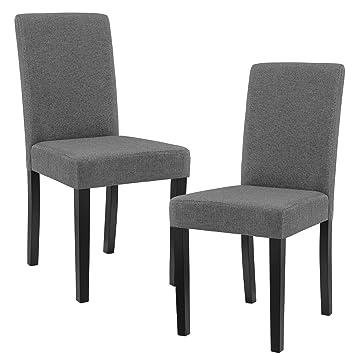[en.casa]®] Set de 2 sillas de Comedor Elegantes tapizadas de Tela Gris - 90 x 42cm sillas de diseño