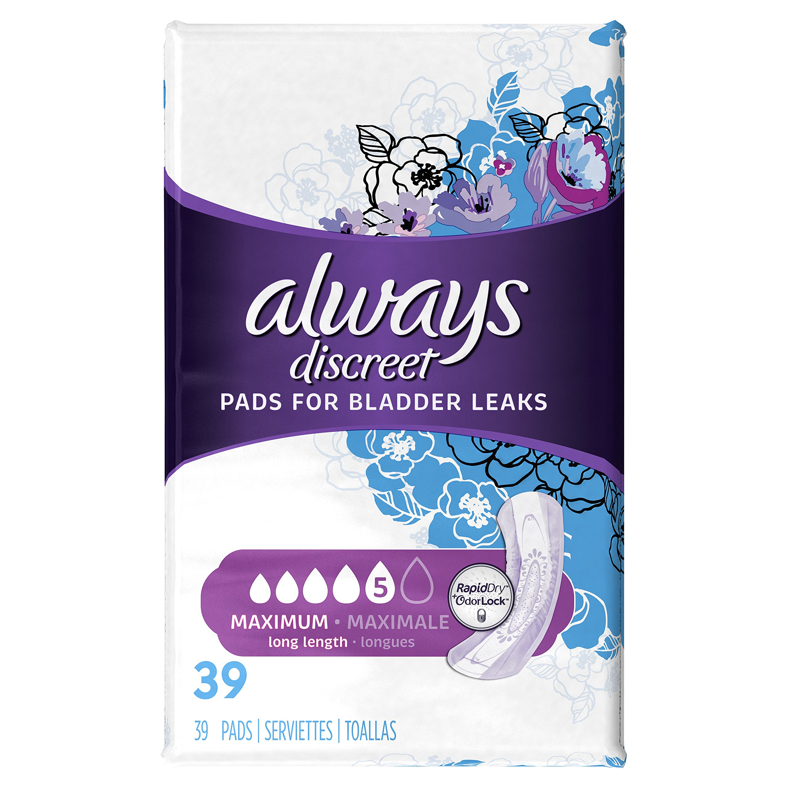 Always Discreet, Incontinence Pads, Maximum, Long Length, 39 Count (Packaging May vary)