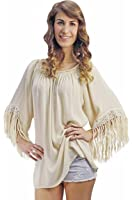 Light Beige Loose Fit Top With Long Fringe