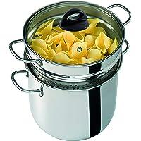Barazzoni - 419048022–Cuiseur à pâtes avec couvercle transparent et panier, fabriqué en Italie, en verre et acier 18/10, 6litres