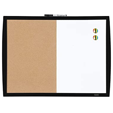 Quartet Combination Magnetic Whiteboard & Corkboard, 17  x 23 , Combo White Board & Cork Board, Curved Frame, Black (41723-BK)