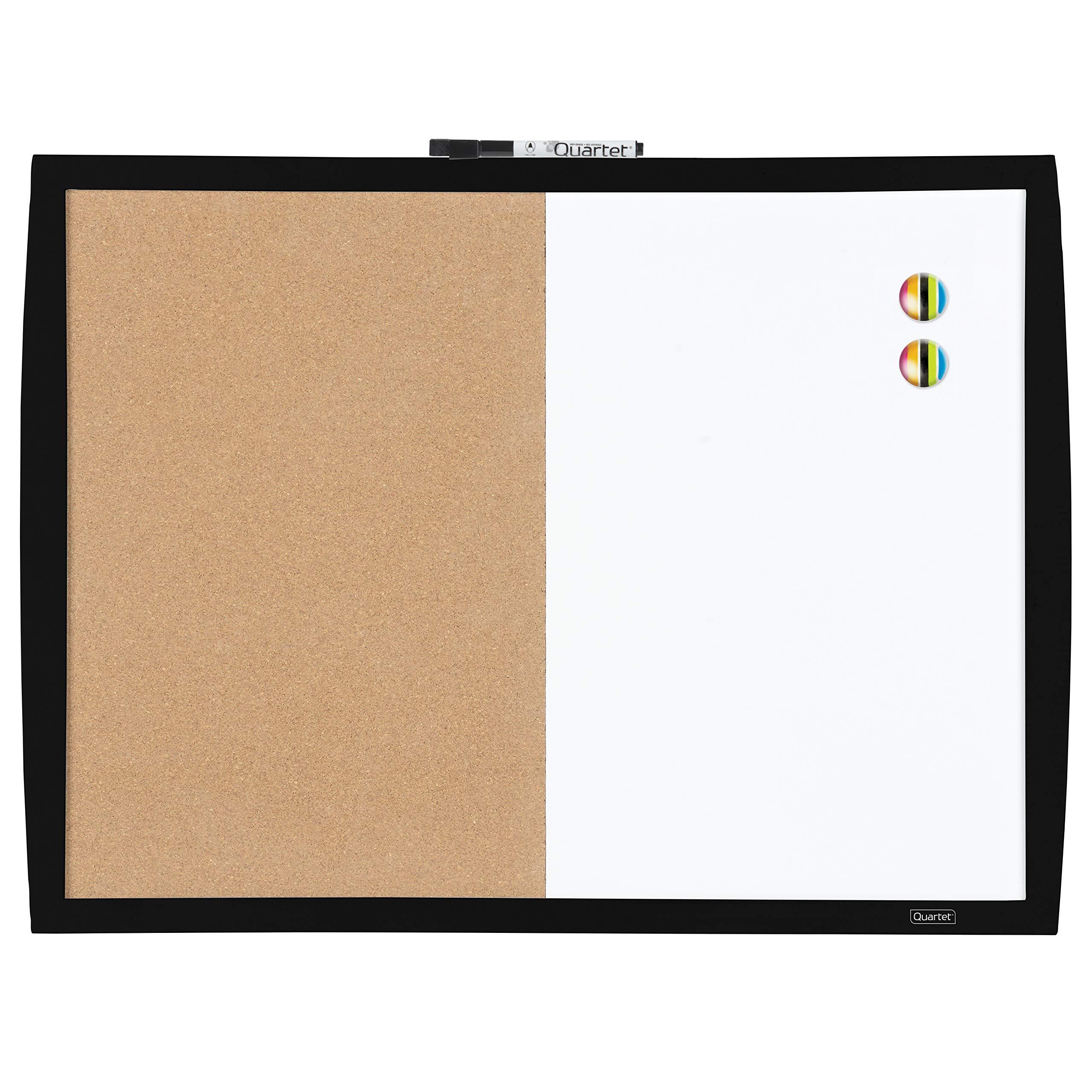 Quartet Combination Magnetic Whiteboard & Corkboard, 17'' x 23'', Combo White Board & Cork Board, Curved Frame, Black (41723-BK)