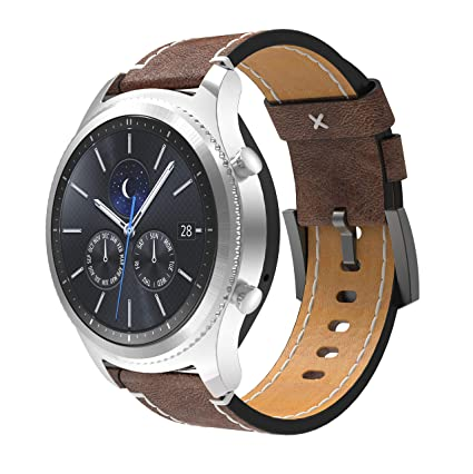 Koreda Compatible with Galaxy Watch 46mm Band/Gear S3 Classic/Frontier Bands, 22mm Leather Strap with Stainless Steel Buckle for Samsung Galaxy Watch ...