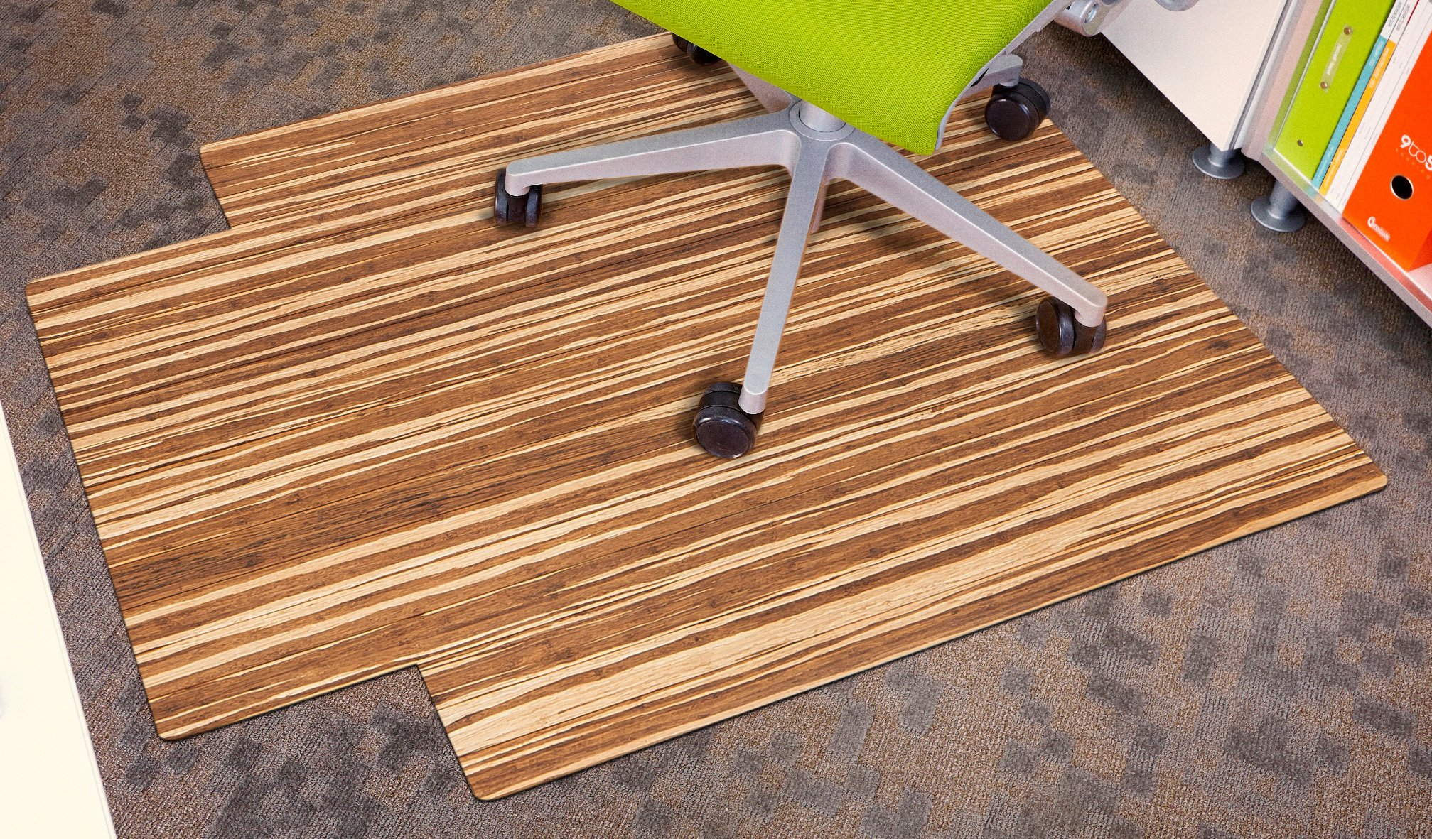 Anji Mountain AMB24060 Strand-Woven Wood Roll-Up Chairmat with lip, 36 x 48-Inch