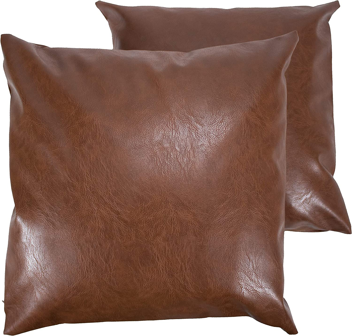 """A1 Depot Faux Leather Pillow Covers Set of 2 for Couch Sofa Chair Bed Modern Home Decor – Luxury Soft Thick & Durable Decorative Throw Pillows Cases - Farmhouse Decoration (Coffee, 18""""x18"""")"""