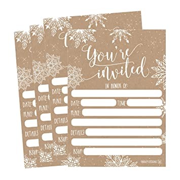 Amazon 25 snowflake christmas holiday invitations rustic 25 snowflake christmas holiday invitations rustic winter new years bridal or baby shower invite filmwisefo