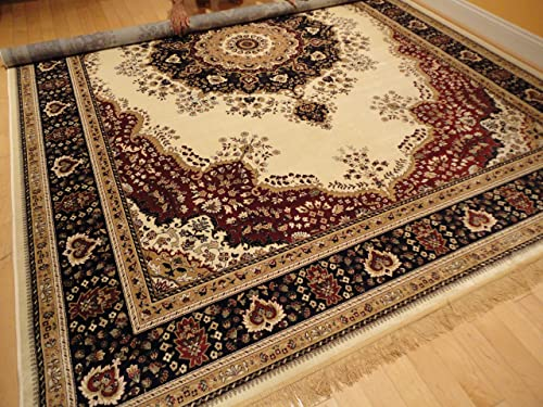 Silk Ivory Rugs Persian Tabriz Rug 7×10 Living Room Rugs Traditional Luxury 6×9 Area Rugs Living Room Carpet White Area Rugs Large 7 x10