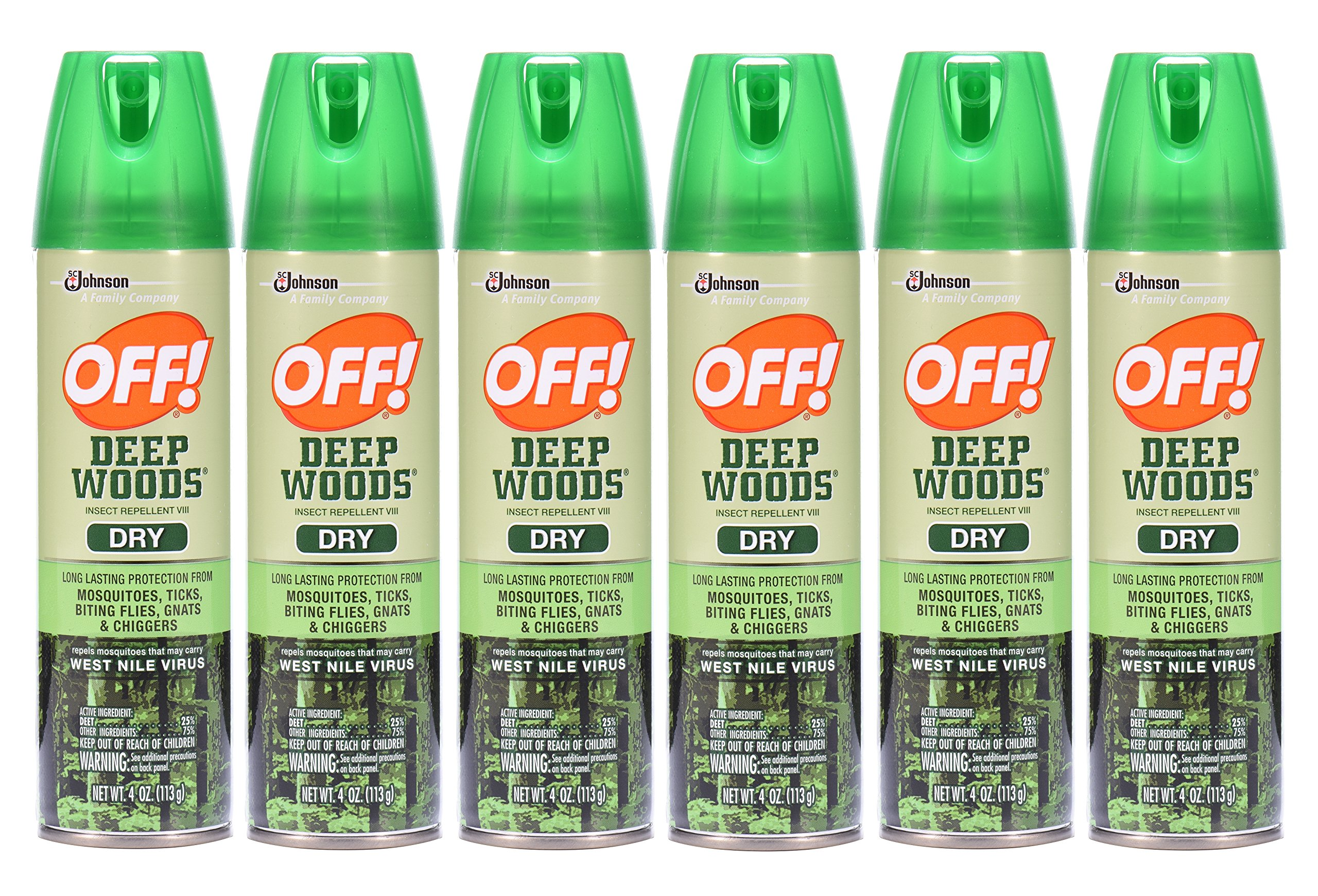 Off! Deep Woods Dry Insect Repellent VIII 4 oz (6 Pack)
