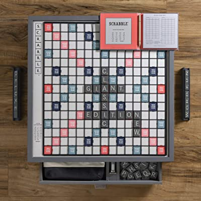 WS Game Company Scrabble Giant Deluxe Designer Edition with Rotating Wooden Game Board: Toys & Games