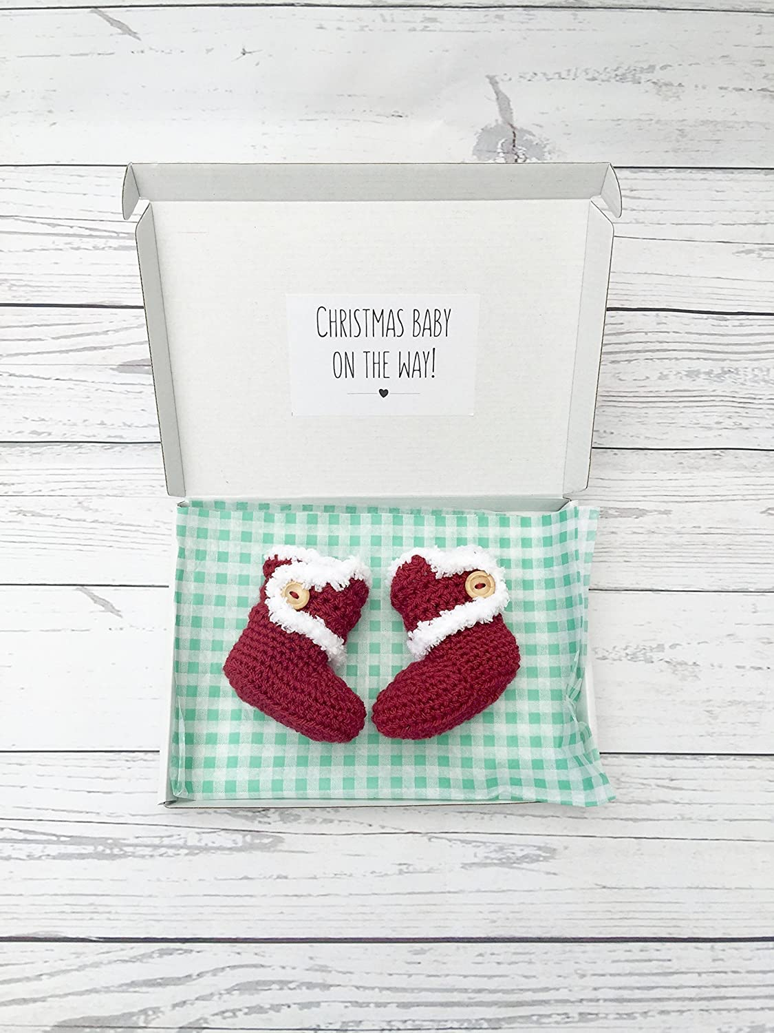 80d1d6ef4b775 christmas baby announcement booties, red crochet santa boots, gift box, pregnancy  reveal: Amazon.co.uk: Handmade