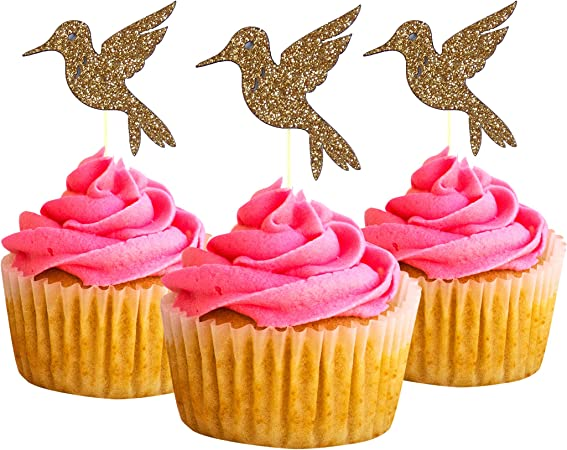 Hummingbird Cupcake Topper 10 Pack Cupcake Topper Decoration Cake glitter Card Stock Gold picwrap