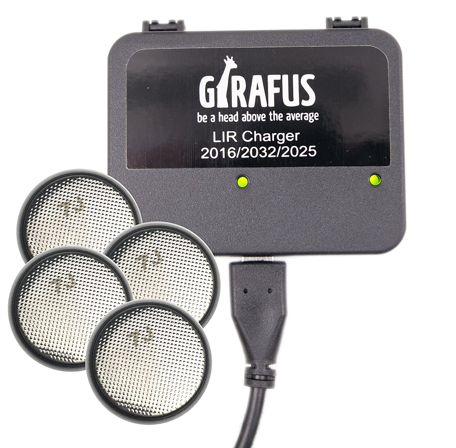 Girafus USB Coin Cell Battery Charger for LIR 2032/2016/2025 with 4X LIR2032 3.7V Rechargeable Batteries Included - Replaces CR2032 Girafus Technologies 4260462370387