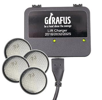 Girafus Cargador de Batería para Pila Botón Recargable LIR 2032/2016 / 2025 – 4 Baterías LIR2032 3.7V Incluidas - Universal: Apto para Cualquier USB