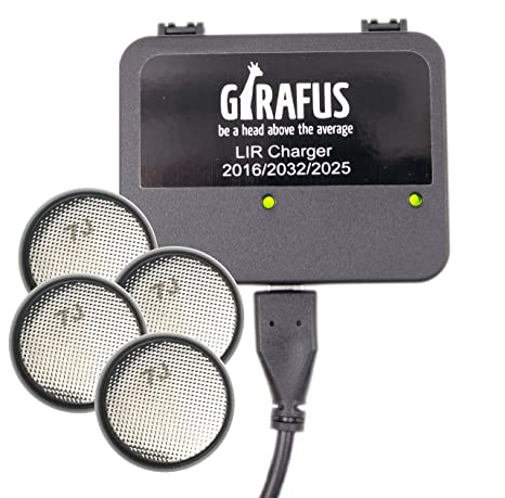 Girafus USB Coin Cell Battery Charger for LIR 2032/2016/2025 with 4X LIR2032 3.7V Rechargeable Batteries Included - Replaces CR2032