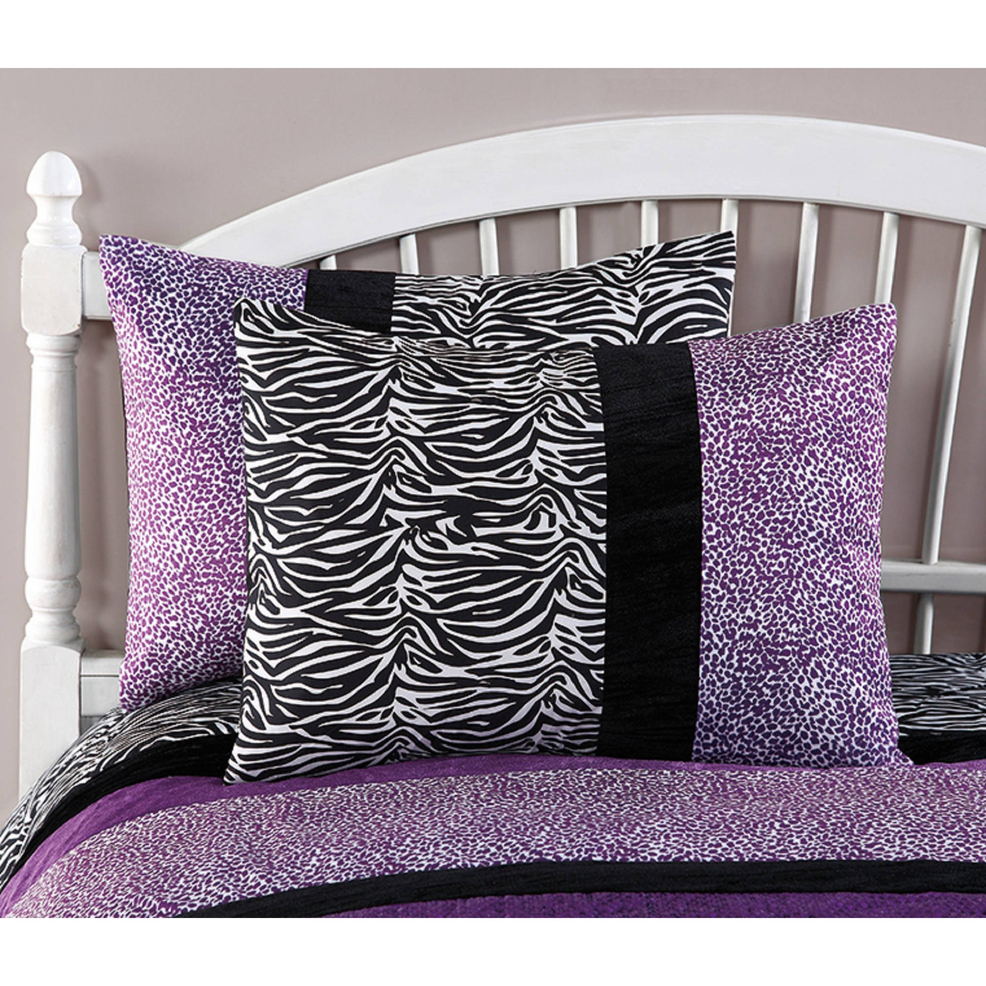CA 3 Piece Girls Violet Purple Glitter Cheetah Print Comforter Full Queen Set, Black White Zebra Stripes Bedding Plum Spotted Animal Print Safari Jungle Zoo Wild Exotic, Reversible Solid Polyester