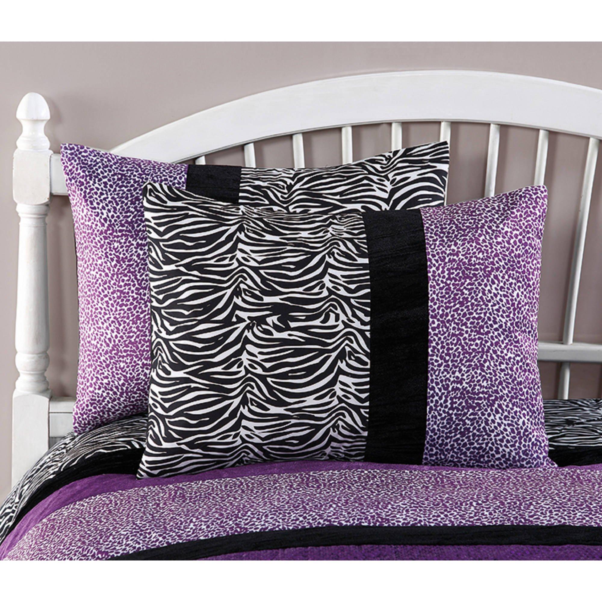 CA 3 Piece Girls Violet Purple Glitter Cheetah Print Comforter Full Queen Set, Black White Zebra Stripes Bedding Plum Spotted Animal Print Safari Jungle Zoo Wild Exotic, Reversible Solid Polyester by CA (Image #1)