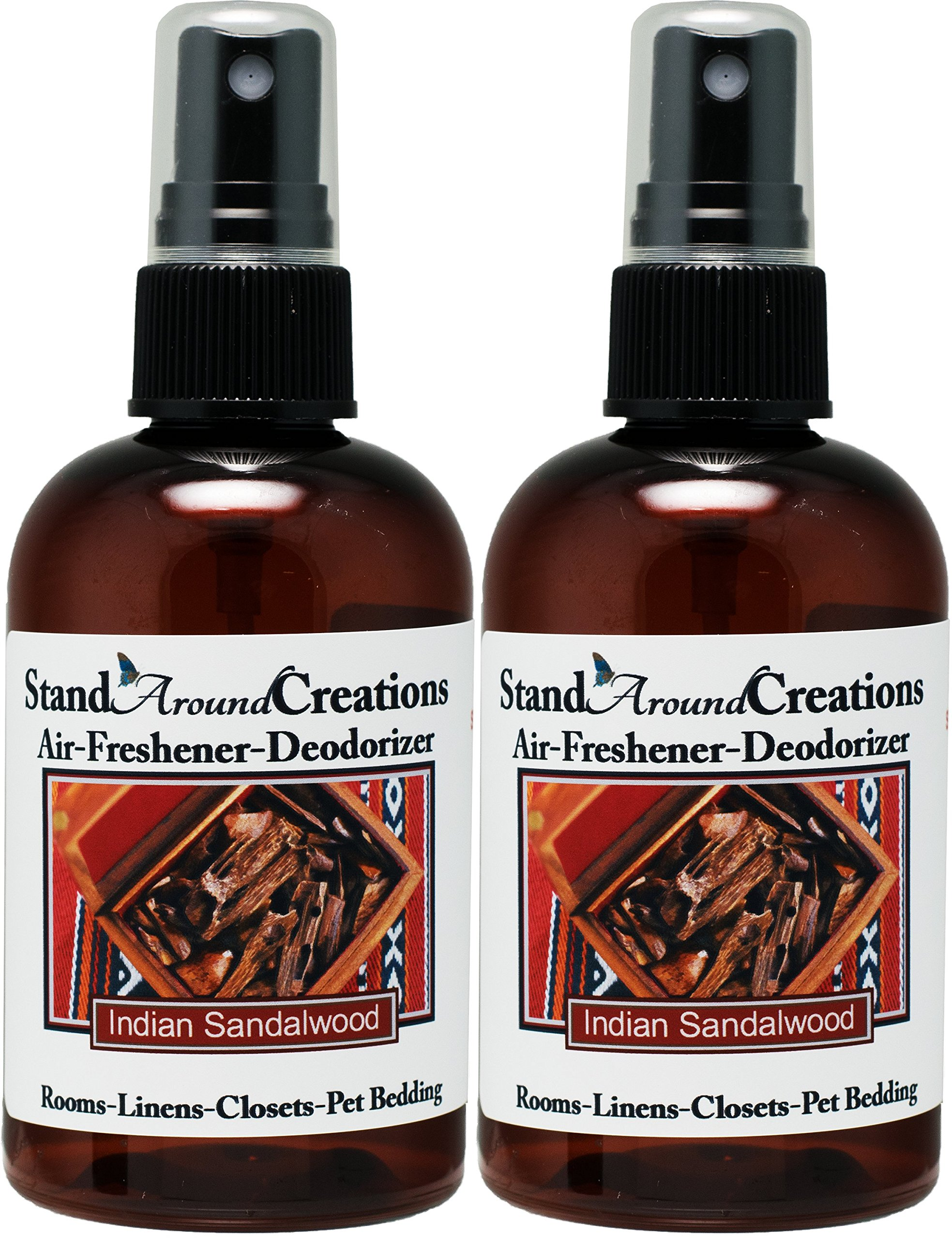 Set of 2 - Spray For Room/Linen/Room Deodorizer/Air Freshener - 4 fl oz - Scent - Indian Sandalwood: A warm, sweet, rich woodsy fragrance. by Stand Around Creations (Image #1)