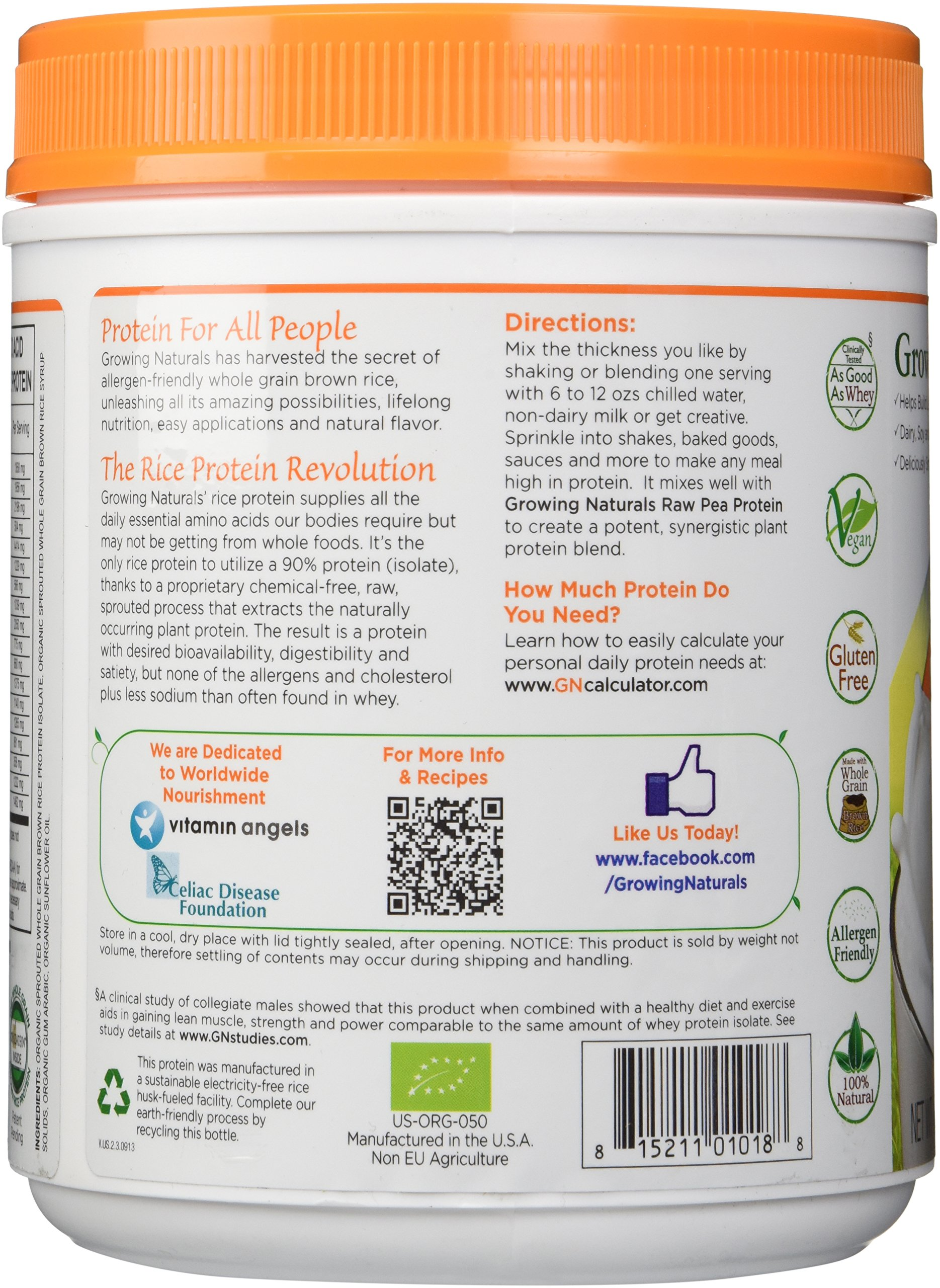 Growing Naturals Organic Rice Protein Powder, Original, 16.2 Ounce by Growing Naturals (Image #5)