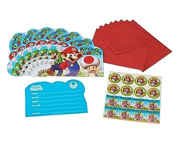 Super Mario Bros- Invitaciones y Sobres, 8 Unidades, talla ...