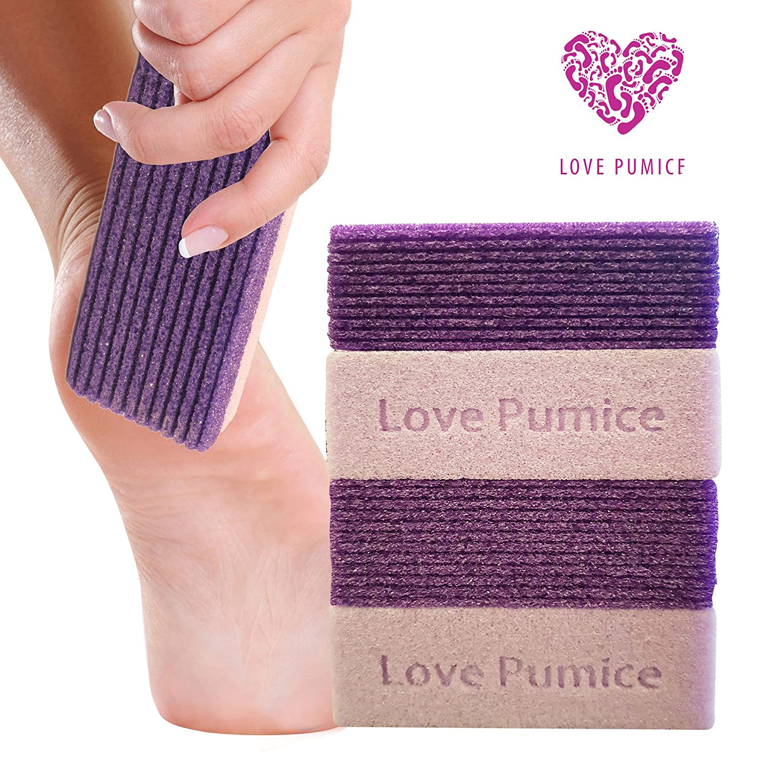 Love Pumice #1 Amazing Pumice Stone (Pack of 4) - Exfoliation Pedicure - Free E-book - Pumice Stone for Feet, Hands and Body - Callus Remover - Treat Your Feet to Some Love Now!!