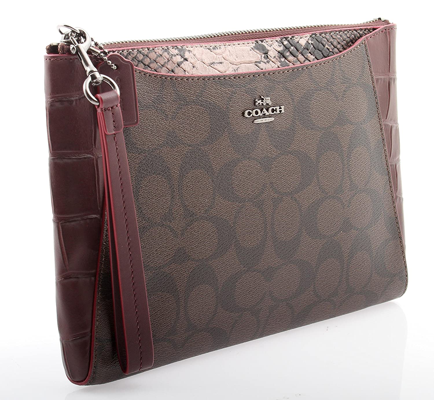 Coach Morgan Clutch 24 in Signature with Exotic Mix Trim, F54628 QBFDC