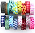 Washi Tape Set ( Exclusive set of 16 ) - New 2017 Designs - Decorative Washi Paper Tape With Colorful Designs and Patterns - Perfect For Planners, Decorating, Scrapbooking and More
