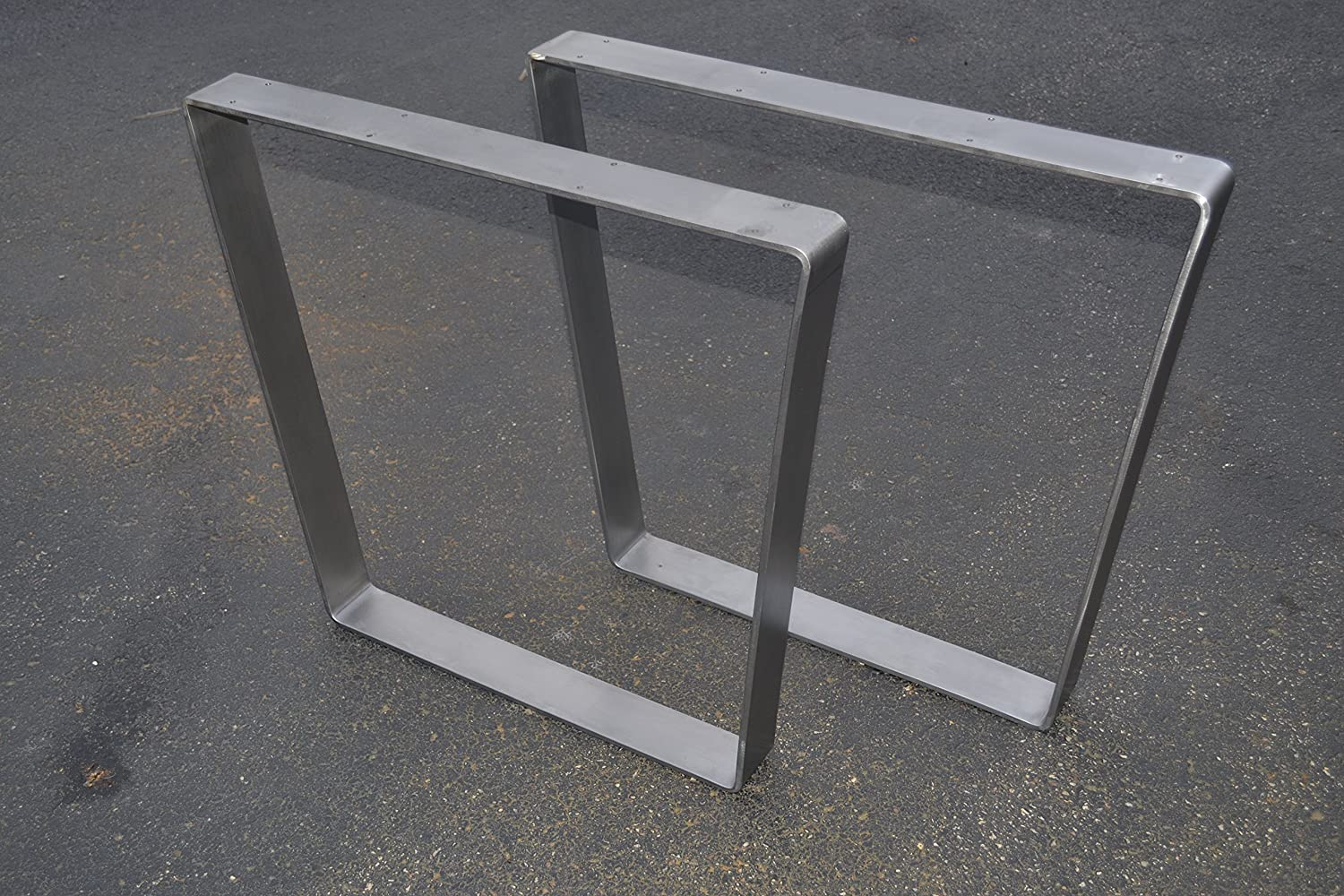 Brushed Stainless Table Legs, Bent Trapezoid Style - Any Size!