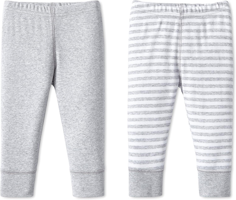 Lamaze Baby Unisex Organic Essentials 2 Pack Pants,Gray Stripe,3M