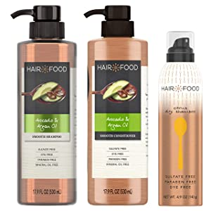 Sulfate Free Shampoo, Conditioner and Dry Shampoo Kit, Dye Free Purifying Formula, Avocado and Citrus, Hair Food, 17.9 oz + 17.9 oz + 4.9 oz, Triple Pack
