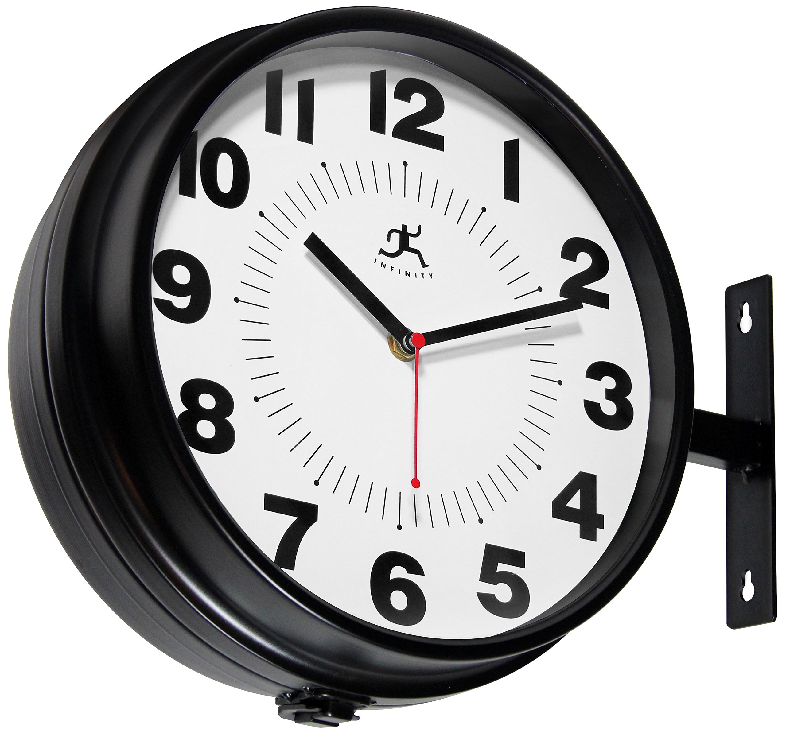 Infinity Instruments Hallway Clock, Black - 11Round, 13with Hanging bracket Adjustable dials for wall or Ceiling mounting Uses 2 AA batteries (not included) - wall-clocks, living-room-decor, living-room - 91ZTLHLDkLL -