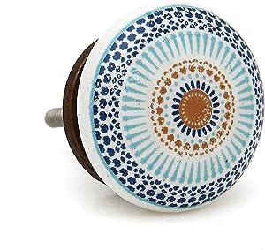 Wheel Flat Ceramic Dresser Drawer, Door, Cabinet Knob Pull - Pack of 12