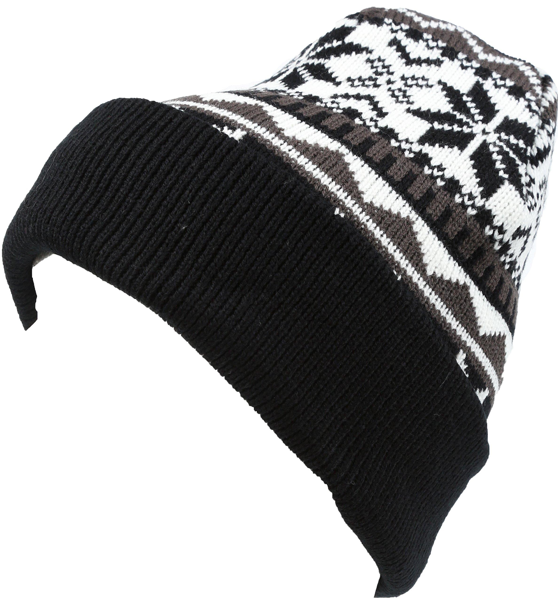 Sakkas 16153 - Sloan Unisex Fold Over Classic Patterned Snowflake Design Winter Beanie Hat - Black - OS