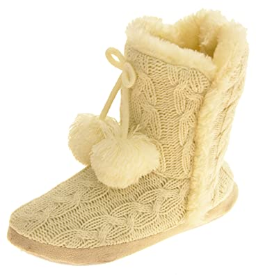 Amazon Dunlop Womens Eleanor Cable Knitted Fur Lined Slipper