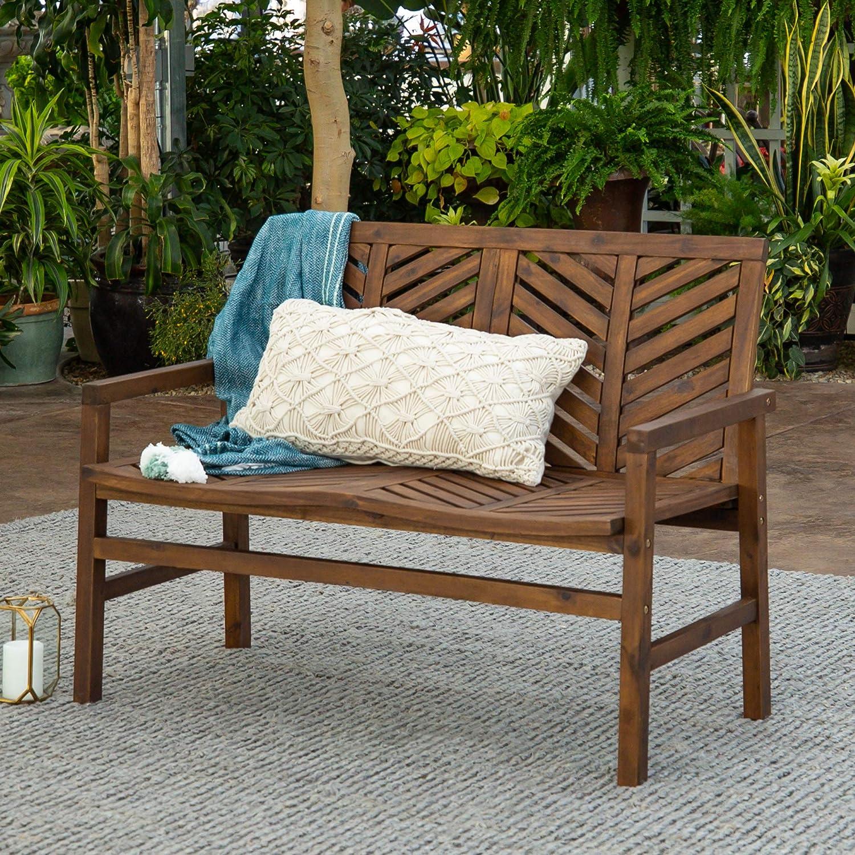 Walker Edison AZW48VINLSDB Outdoor Patio Wood Chevron Loveseat Chair All Weather Backyard Conversation Garden Poolside Balcony Couch, 48 Inch, Dark Brown