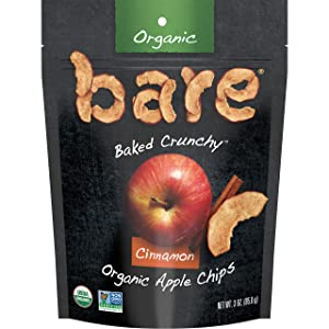 Bare Organic Apple Chips, Cinnamon, Gluten Free + Baked, Multi Serve Bag, 3 Oz,Pack of 1
