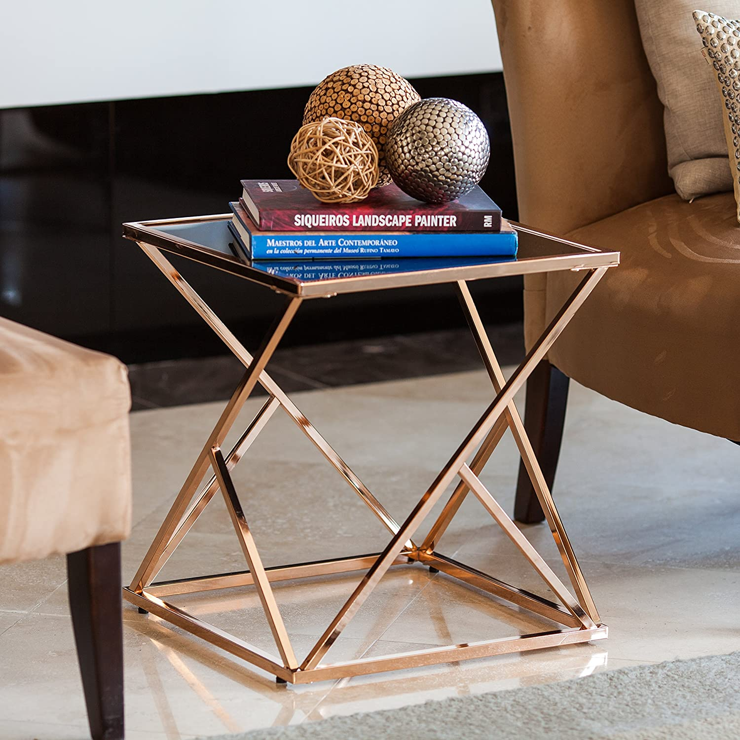 Amazoncom End Table in Rose Gold Finish Kitchen Dining