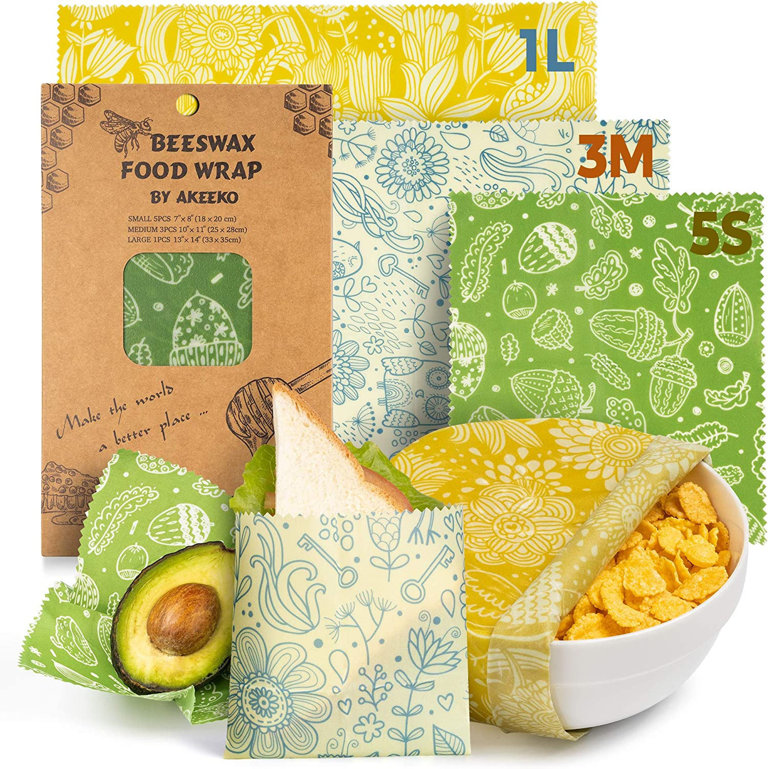 Reusable Beeswax Wraps Assorted 9 Packs - Eco-Friendly Reusable Food Wraps, Biodegradable, Zero Waste, Organic, Sustainable Bees Wax, Plastic-Free Food Storage, 5 Small, 3 Medium, 1 Large