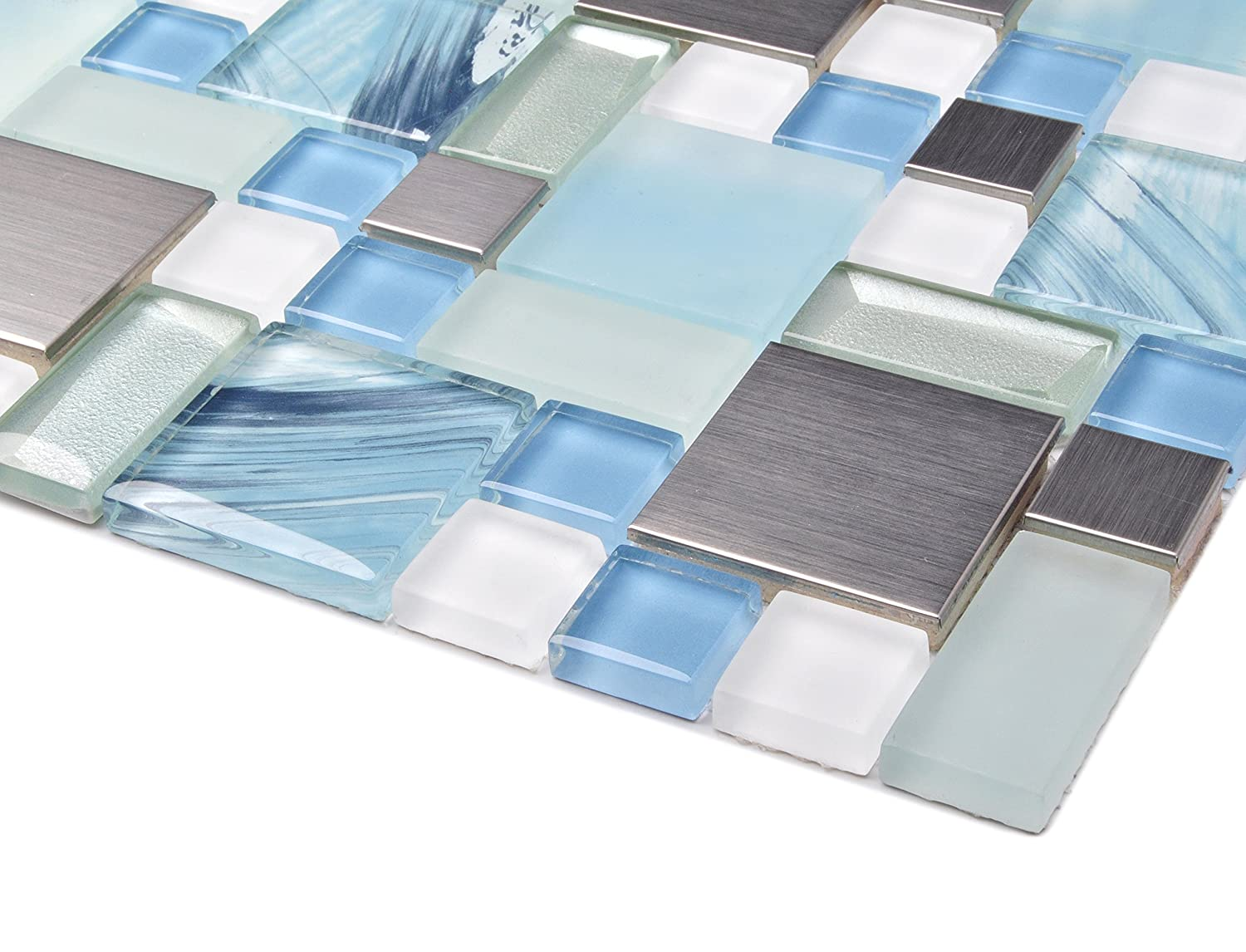Sea Blue Green Glass Stainless Steel Tile White Kitchen Bath ...