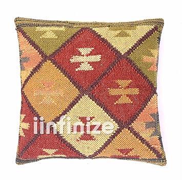Amazon.com: Juego de 4 cojines decorativos de yute indios de ...