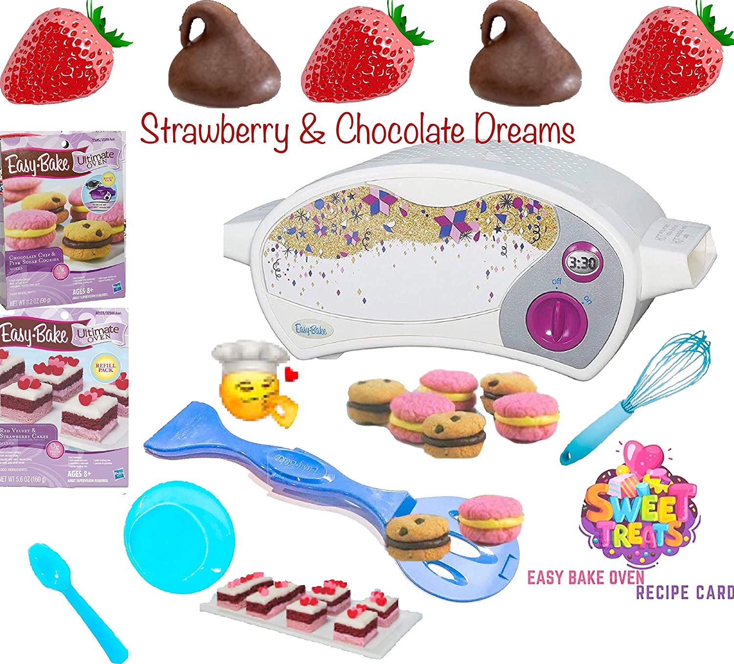 Party Lab 365 Easy Bake Ultimate Oven Baking Star Edition + 2 Oven Refill Mixes + 2 Sweet Treats Tasty Oven Recipes + Mixing Bowl, Spoon and Extra Baking Accessories (7 Total Items) (Blue)