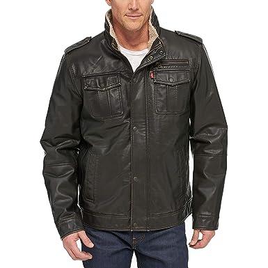 710881ff7 Levi's Men's Vintage Deer Faux Leather Sherpa Military Jacket