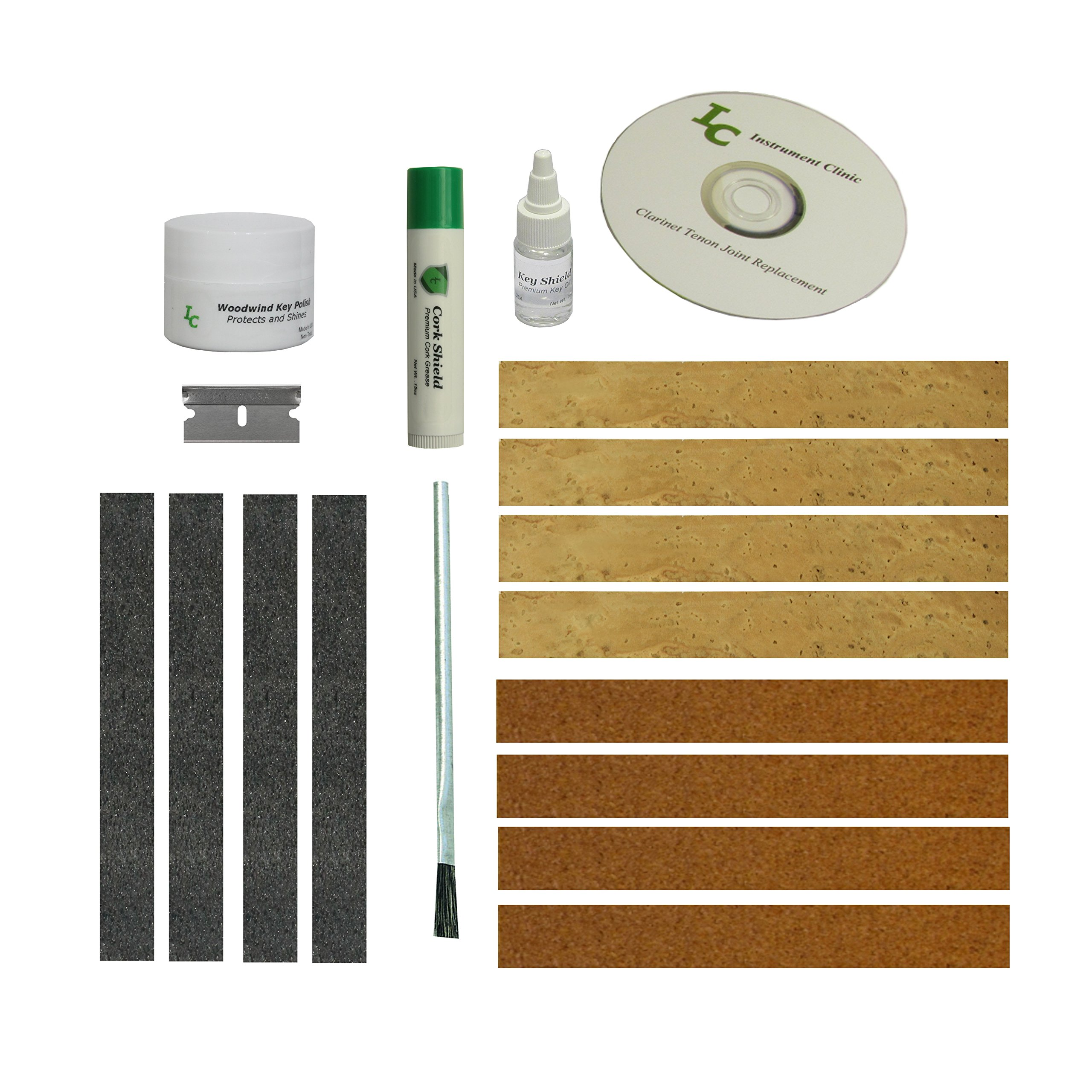 Clarinet Joint Cork Kit, Complete, Synthetic Cork, with Maintenance Items! (Adhesive not included due to shipping regulations)