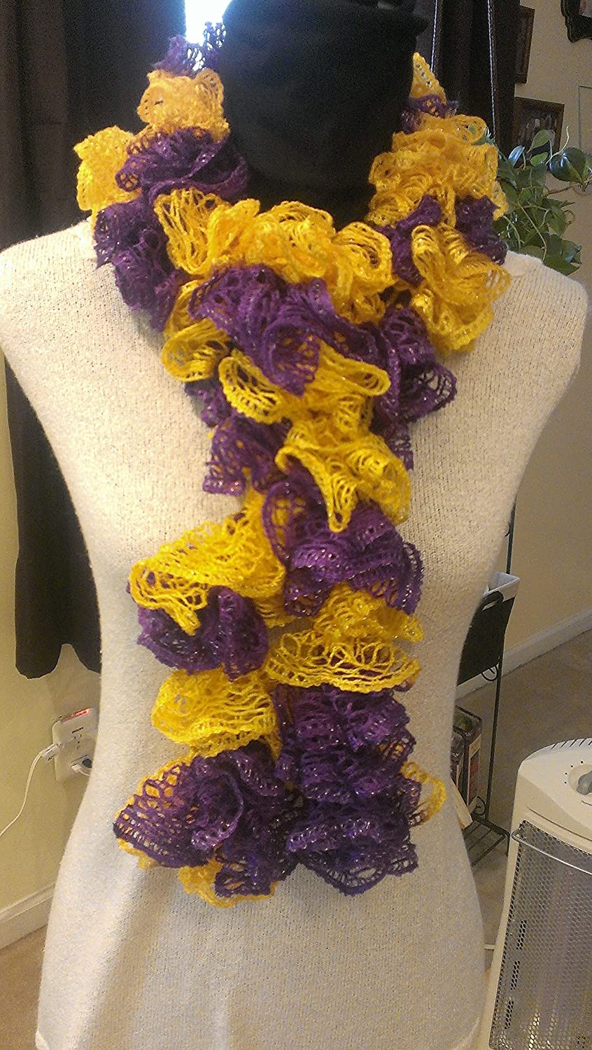 Amazoncom Hand Made Crochet Ruffle Scarf Purple And Gold Ravens