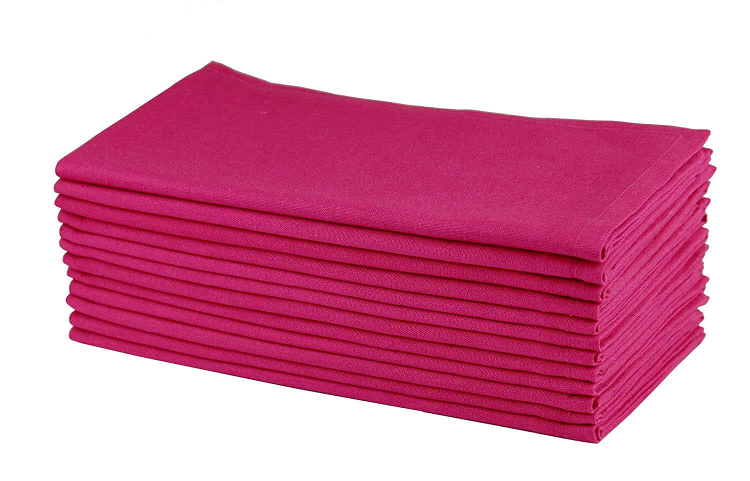 Cotton Craft Napkins-12 Pack Oversized Dinner Napkins- 51x51 CM Magenta-Pure 100% Cotton-Tailored with Mitered corners and a generous hem- Napkins are 38% larger than standard size napkins Orient Originals Inc.
