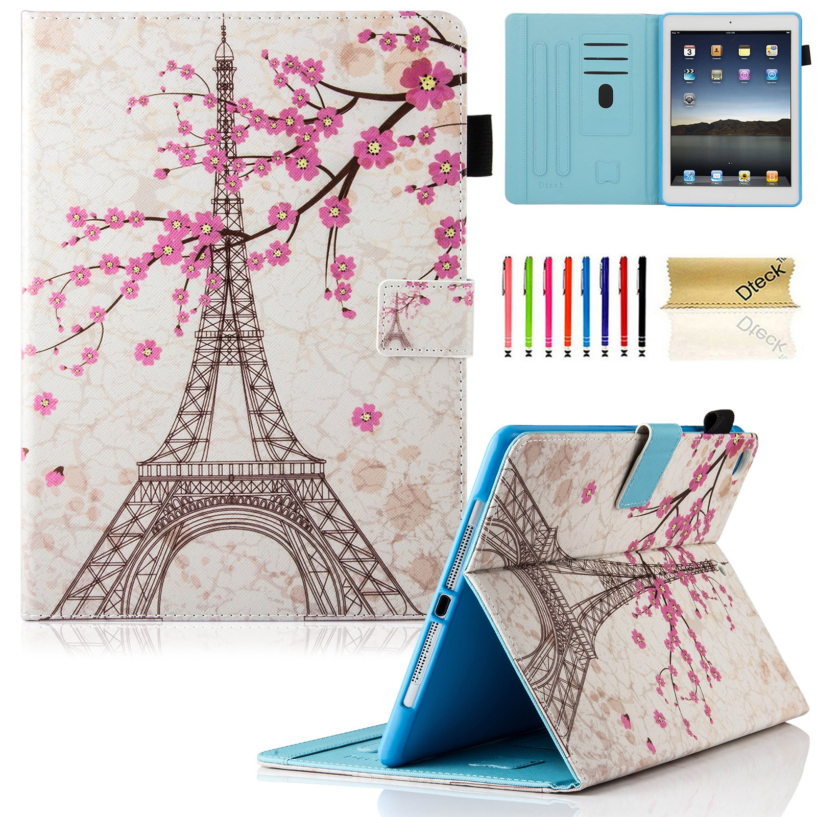 iPad 9.7 inch 2018/2017 Case, iPad Air Case, iPad Air 2 Case, Dteck PU Leather Folio Smart Cover Stand Wallet Case with Auto Sleep Wake for Apple iPad 6th/5th Gen,iPad Air 1, iPad Air 2, Eiffel Tower
