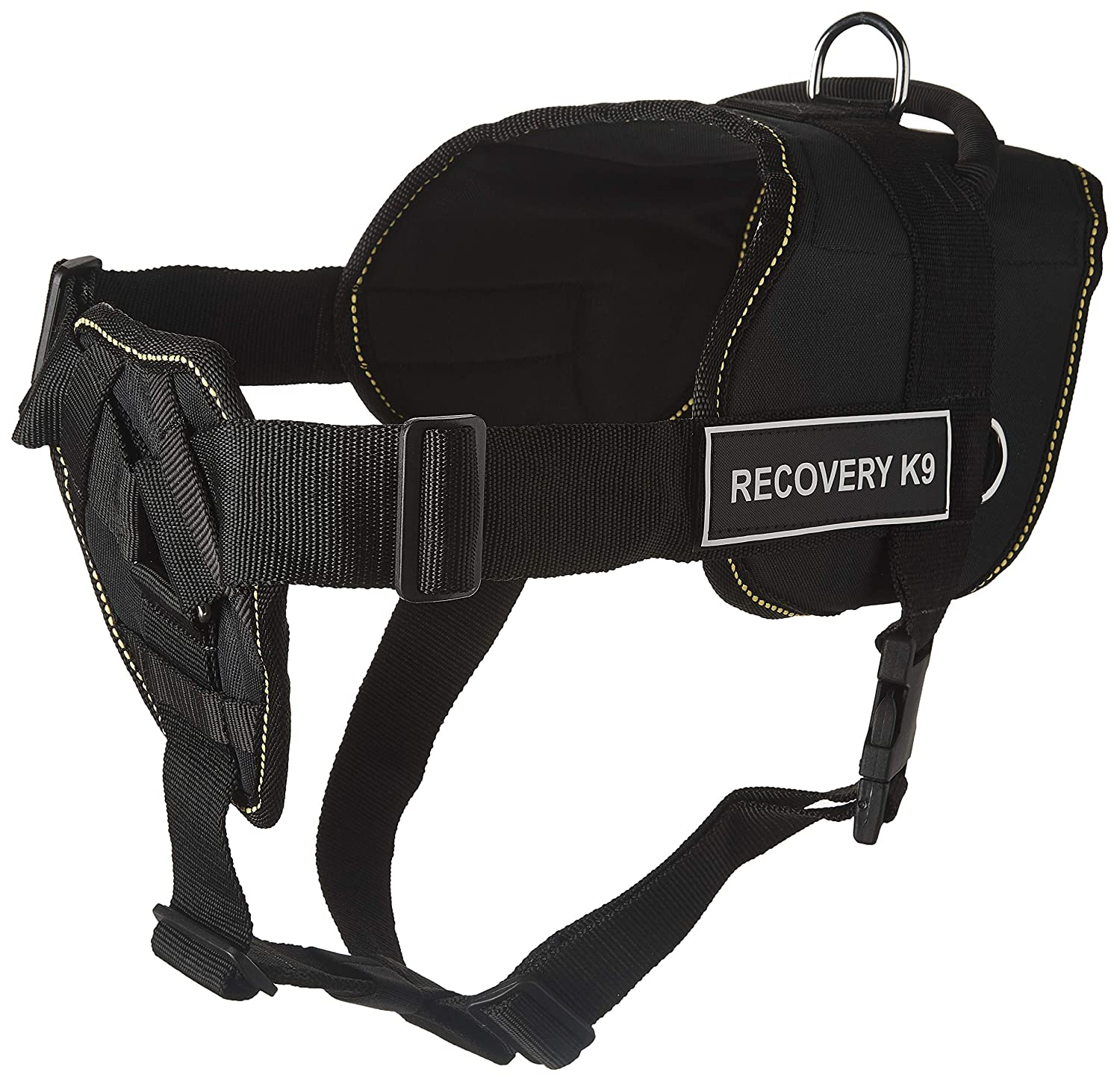 Dean & Tyler D&T FUN-CH RECK9 YT-XL Black with Yellow Trim Fun Dog Harness with Padded Chest Piece Recovery K9, X-Large-Fits Girth Size 86cm to 119cm